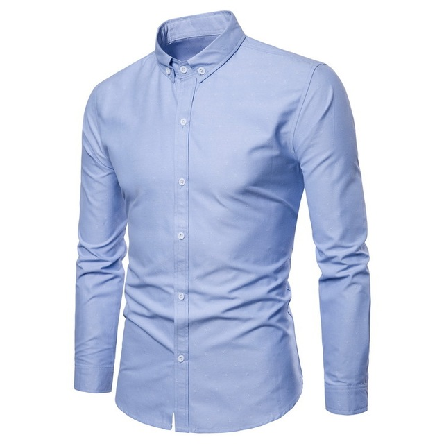 1af404a6e19 Men S Shirts Turn-Down Collar Solid Mens Slim Long Sleeve Shirt Light Blue  White Black Kemeja Pria Chemise Homme NZ479