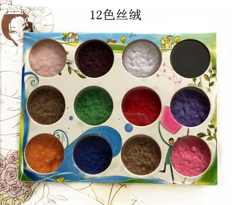 Mezcla aleatoriamente 12 Colores/juego, polvo de brillo de terciopelo de decoración de uñas, polvo de brillo de GEL UV para puntas de Arte de uñas