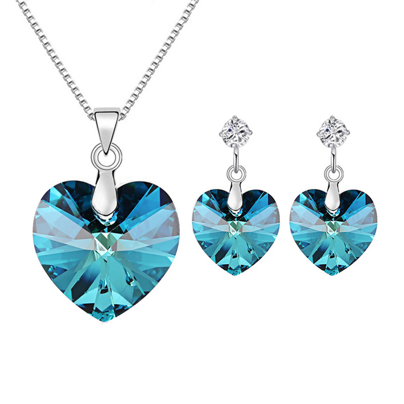 цена BAFFIN Romantic Wedding Jewelry Sets Original Crystals From Swarovski Heart Pendant Necklace Drop Earrings For Women Girls Gift