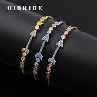 HIBRIDE Mode Blauwe Cubic Zirkoon Vrouwen Bridal Armbanden & Bangles Arrow Ontwerp Verstelbare Maat Armband Midden-oosten B-89