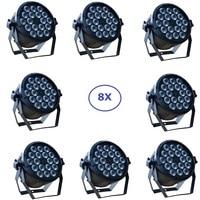 Oferta Luz LED de Disco DMX, 8x lote, luz Par LED 18x12W RGBW, Quad Color, fiesta en casa, equipo de luces para DJ, iluminación de haz de efectos de escenario
