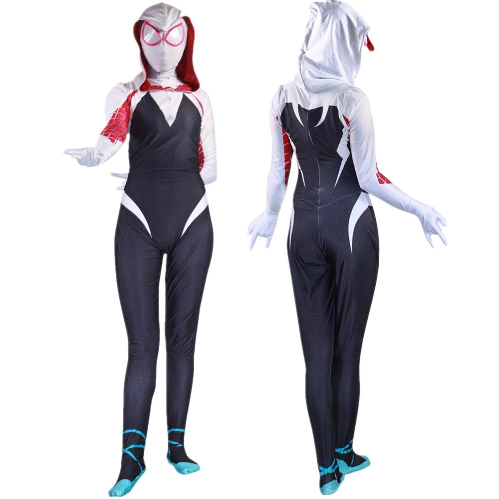 Adult Kids Gwen Stacy Spider-Man: Into the Spider-Verse Jumpsuit Cosplay Costume Bodysuit Spiderman Zentai Superhero Suit