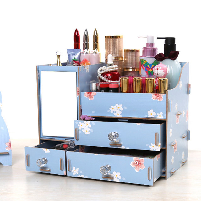 Merveilleux Wood Makeup Organizer With Mirror Jewelry Cosmetic Organizer Home Makeup  Storage Box Modern Drawer Organizer Fashion