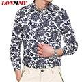 LONMMY M-5XL Mens camisas de vestido Floral impresso Flor Da Longo-luva camisas dos homens Marca de roupas Casuais Camisa masculina sociais
