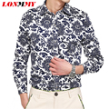 LONMMY M-5XL Mens dress shirts Floral printed Long-sleeve Flower shirts mens Casual Brand clothing Camisa social masculina
