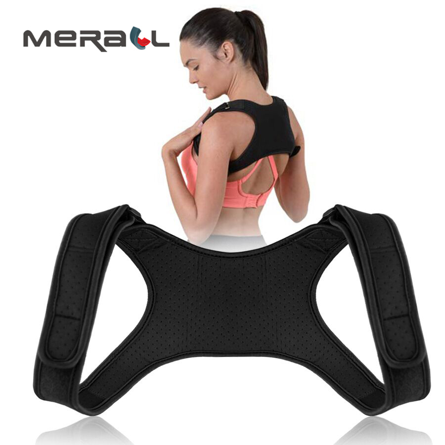 Posture Corrector Brace Support Men Women Back Straightener Corset Adhesive Adjustable Bandage Physical Therapy Black ProductsPosture Corrector Brace Support Men Women Back Straightener Corset Adhesive Adjustable Bandage Physical Therapy Black Products