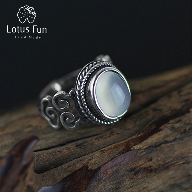 Lotus Fun Real 925 Sterling Silver Natural Chalcedony Stone Handmade Creative Fine Jewelry Vintage Female Rings Bijoux