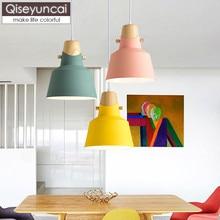 Qiseyuncai Nordic single head restaurant chandelier creative simple solid wood art bar desk study bedroom cafe lighting