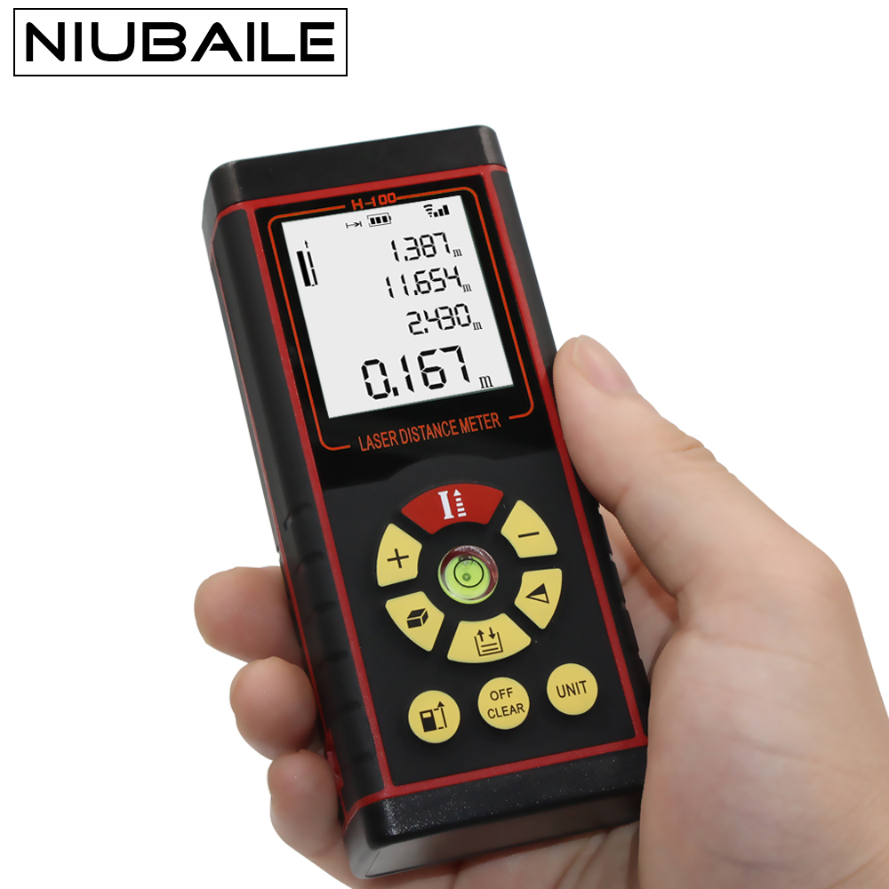 NIUBAILE 100M Laser Range Finder Rangefinder Laser Roulette Handheld Distance Meter Diastimeter Laser Tape Measure H100-R laser range finder 40m 60m 80m 100m digital laser distance meter tape area volume angle engineer measure construction tools