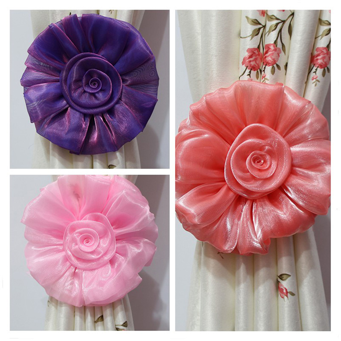Pactical 9 colors Practical Fashion Window Curtain Tieback Clip-on Rose Flower Tie Holder Drape Decoration Home Decor