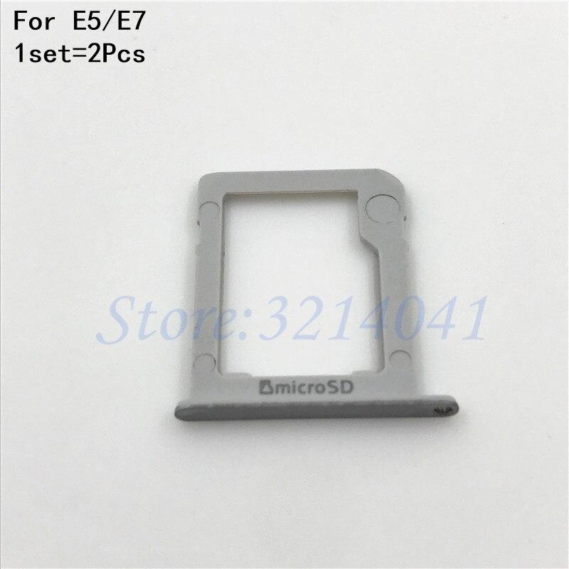New SIM Card Tray Holder + Micro SD Tray Slot Adapters For Samsung Galaxy E5 E500 E7 E700 Repair Parts