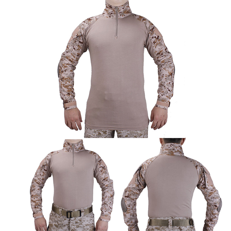 Tactical BDU combat T-Shirts Military Action Camouflage T-shirt  paintball hunting clothing With elbow pads Desert Digital