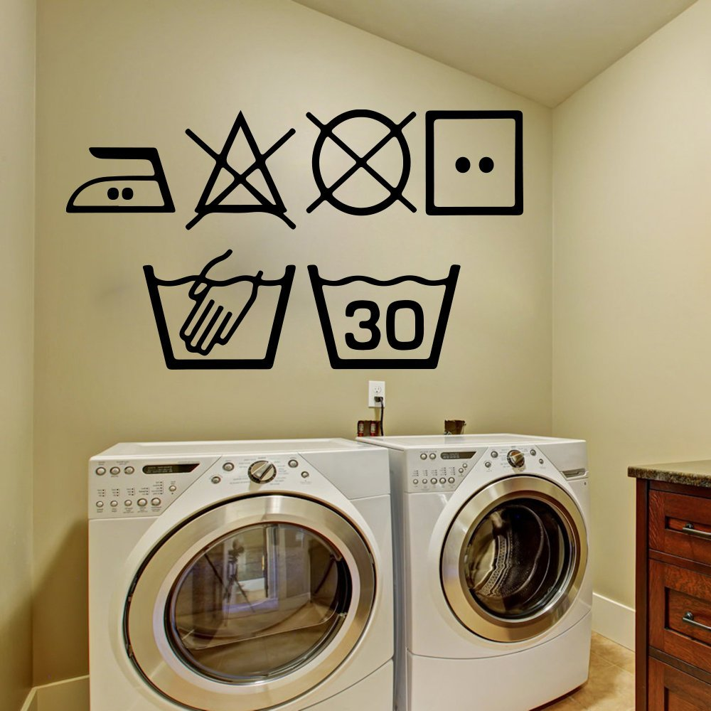 6pcs set Laundry Symbols Wall Art Decal Kitchen Washing Room Sign Wall Sticker pvc Decal Vinyl Home Decoration Wall Tattoo D843(China)