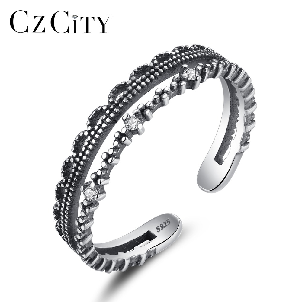 CZCITY Vintage Silver Cuff Rings For Women Factory Directly Sale 925 Sterling Silver Hollow Design Finger Open Ring Anniversary