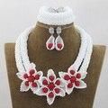 Мода Белый Нигерийские Африканские Бусы Свадебный Кристалл Колье Коренастый Женщины Ювелирные Наборы Посеребренная Бесплатная Доставка ANJ149