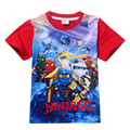 4-10 Год Мальчики Ниндзя Футболка Детей Летом Хлопок короткий рукав Случайные футболки Для Мальчиков