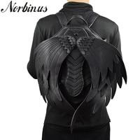 Norbinus Punk Angel Wing Backpack For Men Women Gothic Devil Leather Backpacks Vintage School Bag Steampunk Retro Motorcycle Bag