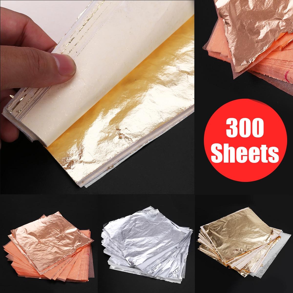 300 blätter Gold + Silber + Kupfer Folie 14*14cm Blatt Vergoldung Kunst Handwerk Nachahmung für Dekorieren Decke wand Notebook