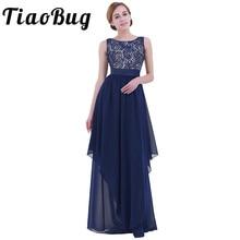 TiaoBug נשים ללא שרוולים V בחזרה מסיבת קוקטייל פורמליות שמלה אלגנטי אופנה נשים שיפון גבוהה מותן מקסי ארוך שיפון שמלה