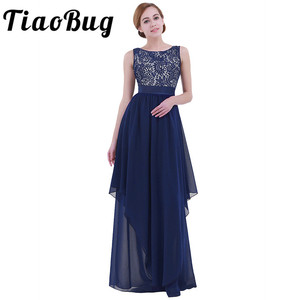 Image 1 - Tiaobug vestido formal sem mangas feminino, vestido formal para festa em v sem mangas, moda elegante, longo, de chiffon vestido de vestido
