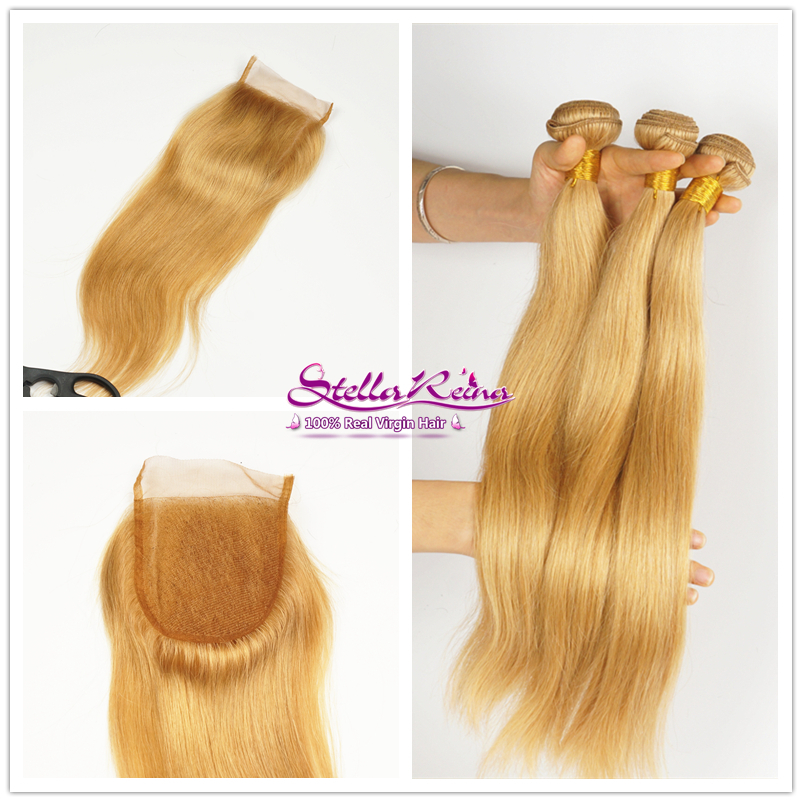 #27 Honey Blonde Lace Closure Straight With 3 Bundles 6A Brazilian Blonde Virgin Hair Straight Weaves Human Hair Extension