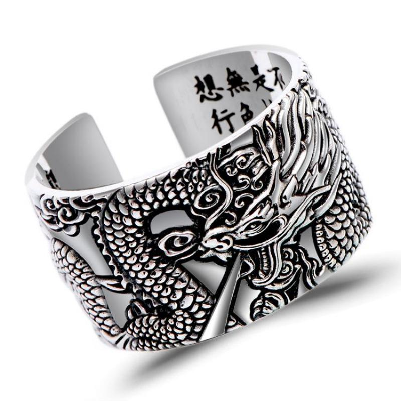 Real 999 Pure Silver Biker Rings With Flying Dragon