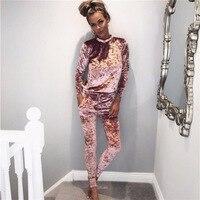 Runway 2017 Sexy Women Winter Velvet Suit 2 Piece Tracksuit Set Spring Pink Black Outfit Women