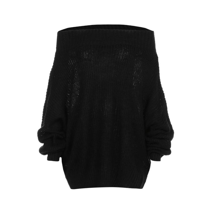 39308ad0ed5 Gobought Women s Off Shoulder Long Sleeve Loose Fit Knit Sweater Tops  Pullover  A40