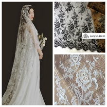 2018 New wedding decoration lace fabric 3 Meters long wedding veils creation eyelash chantilly lace Black Off white in stock!