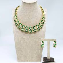 Viennois Gold Color Metal Necklace Jewelry Sets for Women Enamel Green Rhinestone Stud Earrings