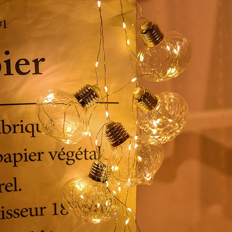 LED Onion Bulb Ball Light String Holiday Fairy Lamp Battery Box Copper Wire Christmas Party Decor Store Window Romantic EU Plug