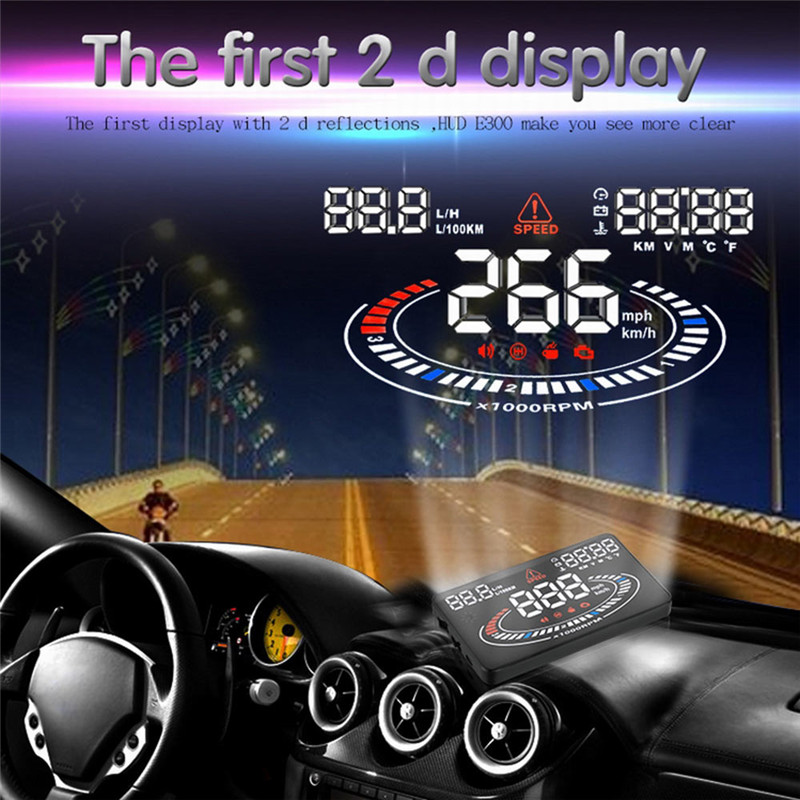 """Hot sale 5.5"""" 2D Vision Cool E300 Car HUD Head Up Display Projector OBD2 OBDII Interface Speed Warning System Speedometers"""