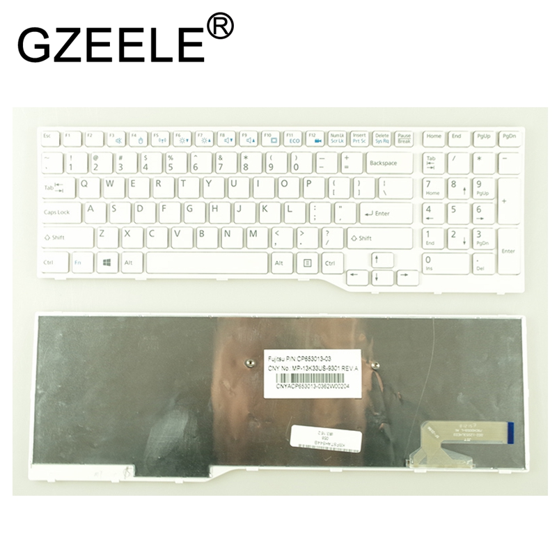 GZEELE New US Laptop Keyboard For Fujitsu LifeBook AH544 AH564 AH574 AH53M AH42 AH555 AH42/S FMVA42SW White MP-13K33US-9301