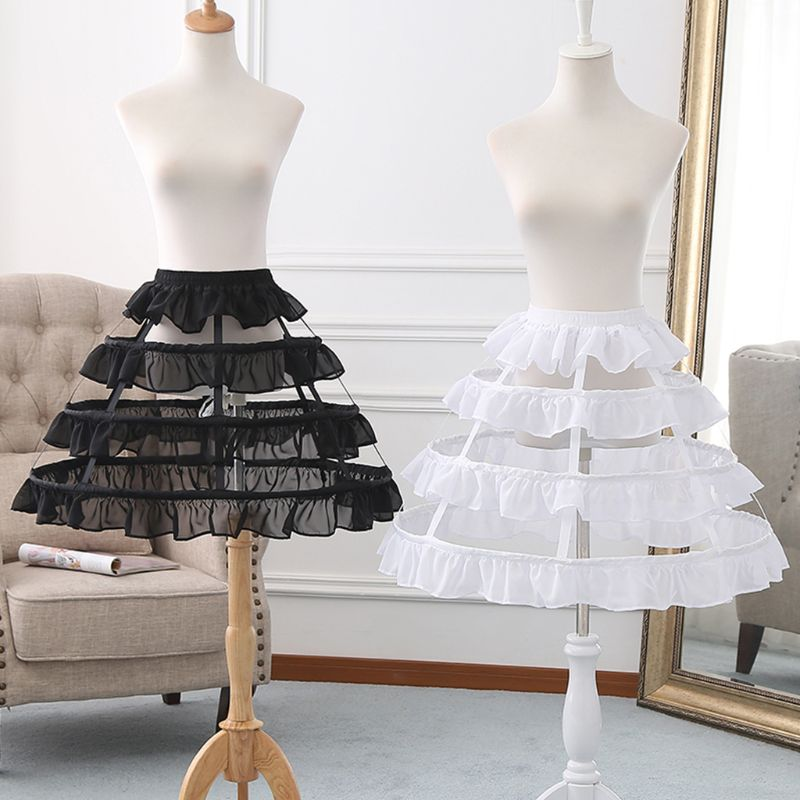 Womens Hollow Lolita Short Birdcage Petticoat Elastic Waist 3 Hoops Pleated Ruffles A-Line Wedding Cosplay Crinoline Underskirt