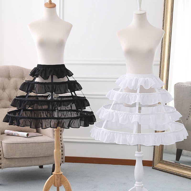 Womens Hollow Lolita Short Birdcage Petticoat Elastic Waist 3 Hoops Pleated Ruffles A-Line Wedding Cosplay Crinoline Underskirt
