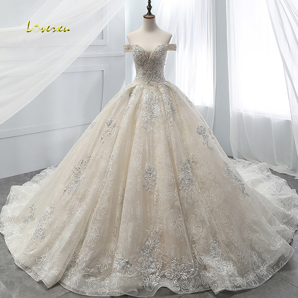 Loverxu Vestido De Noiva Boat Neck Lace Ball Gown Wedding Dress 2019 Royal Train Appliques Beaded