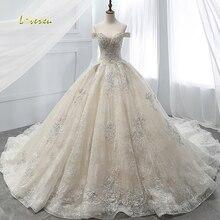 Loverxu Vestido De Noiva Boat Neck Lace Ball Gown Wedding Dress 2018 Royal Train Appliques Beaded Princess Bridal Gown Plus Size