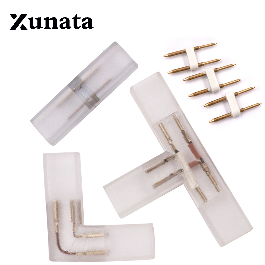 2 pin L T shape Corner connector middle plug With Copper needle for 110V 220V LED Strip 5050 3014 2835 single color