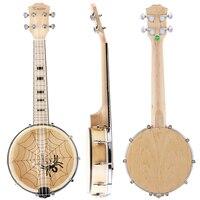 Kmise Banjo Ukulele Uke 4 String Ukelele Uke Concert 23 Inch Size Maple Wood