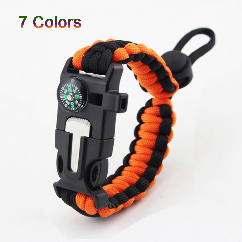 Multi-functional Outdoor Bracelet Camping Hiking Military Emergency Wrist Strap Wilderness Whistle Field Survival Tool