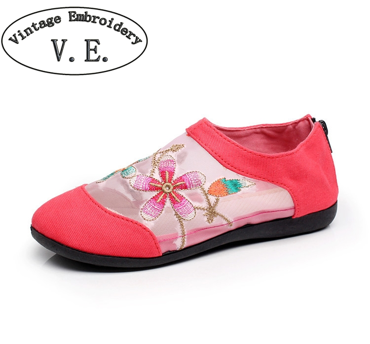 Chinese Women Flats Gauze Canvas Floral Embroidered Casual Shoes Cotton Fabric Slip-on Ballets For Ladies Summer Shoes Woman weowalk 5 colors chinese dragon embroidery women s old beijing shoes ladies casual cotton driving ballets flats big size 34 41