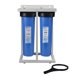 2-Stage Whole House Water Filtration System 1 inch BRASS port with Stand, 20 Big Blue Sediment  ,Carbon Block Filters & wrench