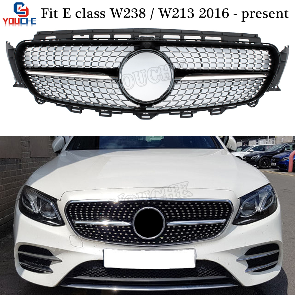 W238 / W213 Diamond Grills Front Bumper Mesh for <font><b>Mercedes</b></font> E Class E200 E250 <font><b>E300</b></font> E350 E400 2016 + Sedan <font><b>Coupe</b></font> image