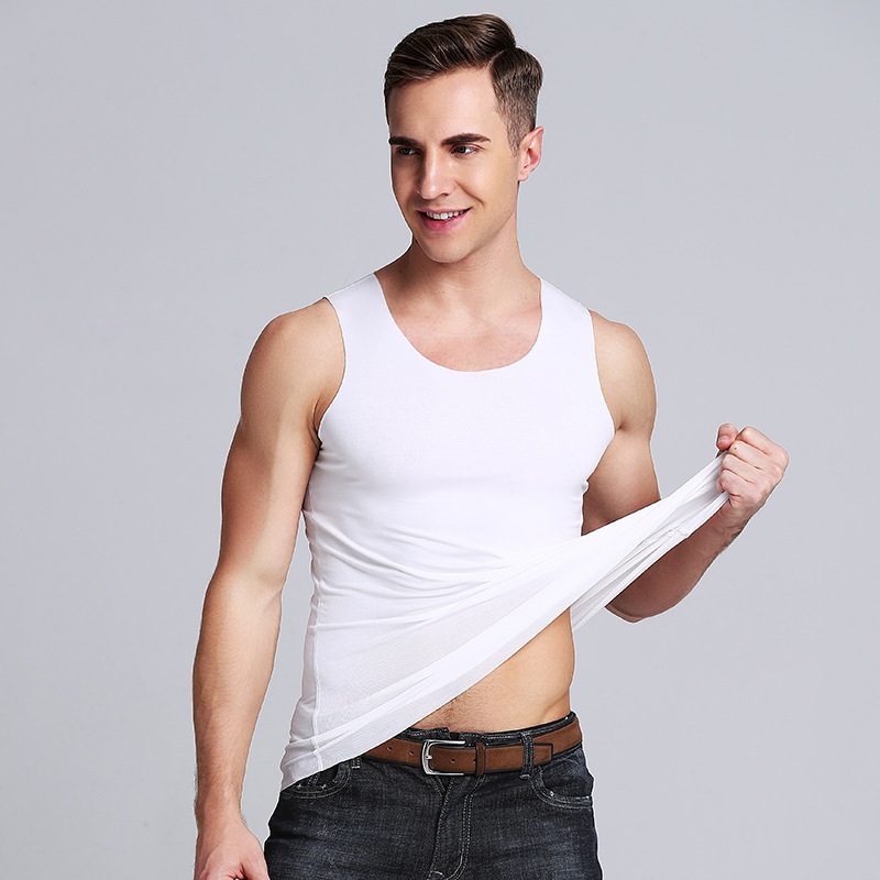 Summer Men's Modal Slimming   Tank     Tops   Fitness O-Neck V-Neck   Top   Tees Seamless Vest Aircool Size L to 3XL 6 Solid colors
