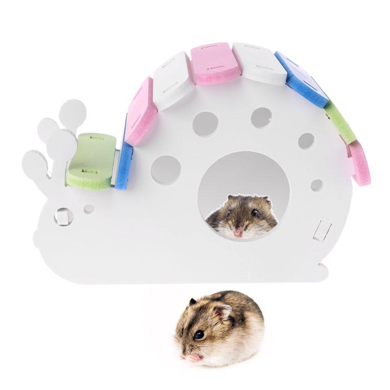 Snail Shape Wooden Hamster House Rat Mouse Exercise Sleeping Nest Toys