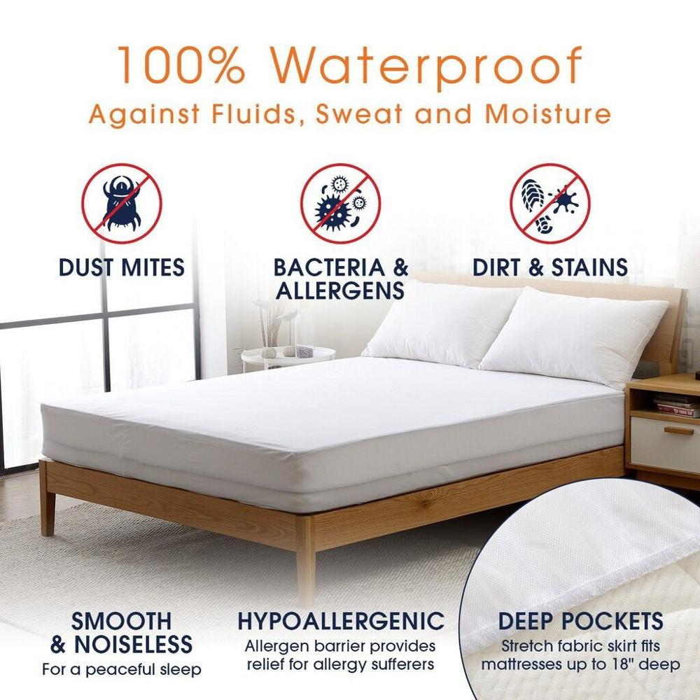 Turetrip Twin Full Queen King Smooth Waterproof Mattress Cover For Bed Mattress Protecto Machine Washable Bed Protector Matelas