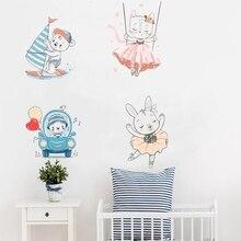Cartoon Ballet Rabbit Cat Boat Boy Wall Sticker Laptop Door Switch Nordic Posters Wall Decals Murals For Kids Rooms Home Decor rabbit design door sticker