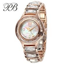 PB Marca de Joyas de Cristal Austriaco Mujeres Vestido Reloj Pulsera de Lujo de Oro Rosa de Acero Inoxidable Ladies Reloj de Cuarzo relogio feminino