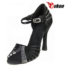 Evkoodance Woman Dancing Shoes Latin Shoes Size US 4-12 10 cm High  Heel Black Silver Brown Satin With Rhinestone Evkoo-443
