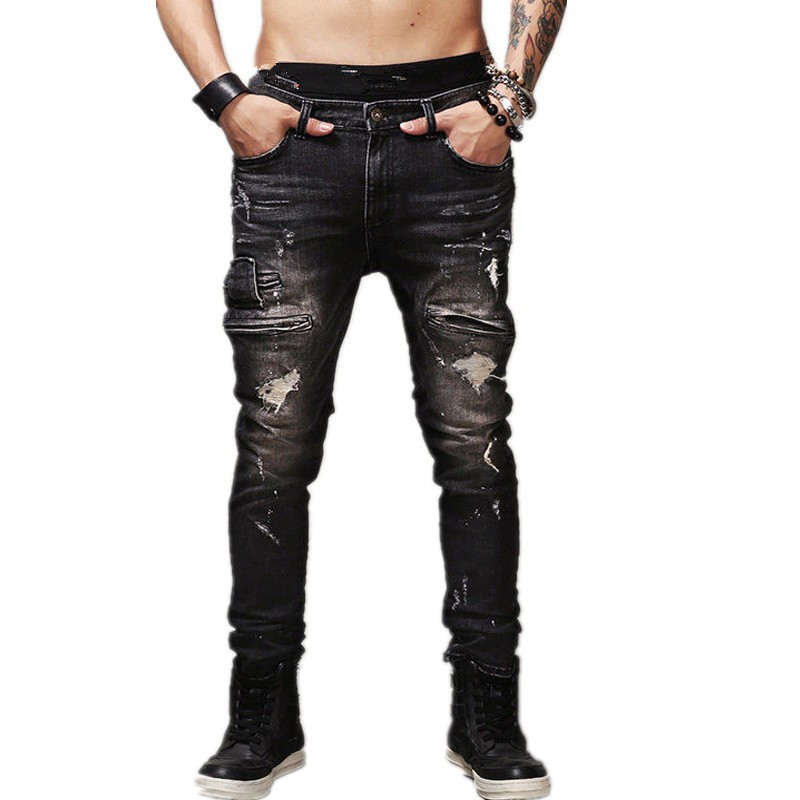 Hip Hop Rock Moto   Jeans   Mens Distressed Ripped Punk Skinny Stretch Denim Biker   Jeans   Male Straight Black Pants Big Size 42